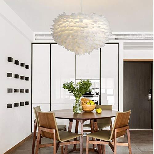 Lamparas techo colgantes Pluma de la lámpara, lámpara pendiente de la luz de techo de sombra romántica Droplight Pantalla con Atenuación 12W E27 for Sala Comedor Dormitorio (Color : White)