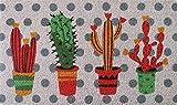 Zerbino da Esterno in Cocco con Base in PVC Dipinto a Mano Raffigurante Cactus Colorati Sfondo a Pois 70X40X2 cm. Facile da Lavare e Ultraresistente