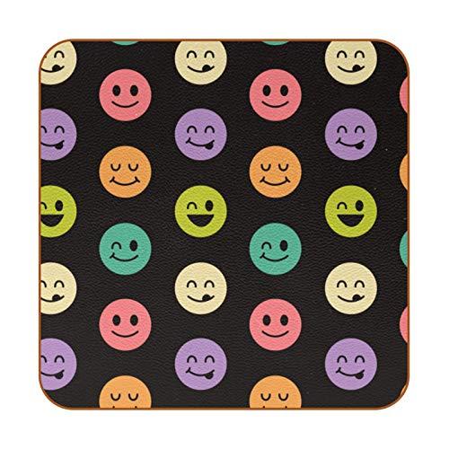 6 posavasos cuadrados de microfibra de cuero posavasos decorativos para tipos de tazas y tazas, divertido emoticono de caras sonrientes