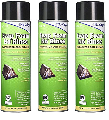 Nu-Calgon 4171-75 Evap Foam No Rinse Evaporator Coil Cleaner, 18 oz. (Pack of 3)