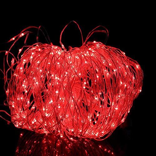 200 lampjes zonne-koperdraad lichtslingers, binnentuin decoratie lichtslingers, kerstdag koperen lichtslingers lichtslingers-rood licht_20 meter 8 functies 200 lichtpunten