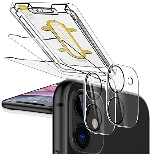 EGV [2 Pack] Screen Protector + [2 Pack] Camera Lens Protector for iPhone 11(6.1'') Tempered Glass, [Easy Installation Tray] Anti-Scratch, HD Ultra-Thin