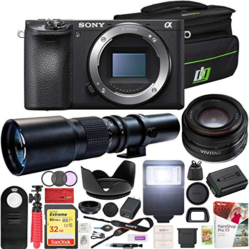 Sony a6500 4K Mirrorless Camera Body Black Bundle with 50MM F2.0 SLR Lens, 500mm Preset Telephoto Lens, 32GB Memory Card, Camera Bag, Paintshop Pro 2018 and Accessories (5 Items)