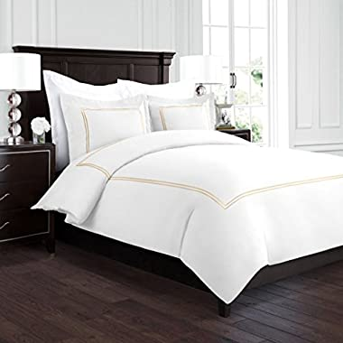 Beckham Hotel Collection Luxury Soft Brushed 2100 Series Embroidered Microfiber Duvet Cover Set with Beautiful 2-Stripe Embroidery - Hypoallergenic -King/California King - White/Gold