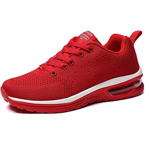 JIANKE Laufschuhe Damen Luftkissen Sportschuhe Leichte Atmungsaktiv Turnschuhe Fitness Gym Sneaker Straßenlaufschuhe Rot, 40 EU
