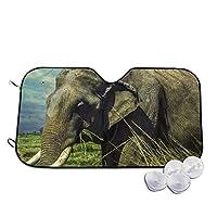 象は草の中を歩きます 車用サンシェード 車窓日よけ カーシェード UVカット 遮光 断熱 日焼け防止 防紫外線 静電気 取付け簡単 吸盤2個付