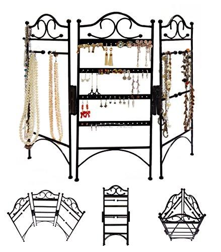 3-Panel Metall Schmuck Ständer Display Vintage Organizer–Klasse Jewelry Kleiderbügel Haken Wandhalterung Aufhängen Ohrring Halter Halskette Schmuck Ständer Rack–Preis XES