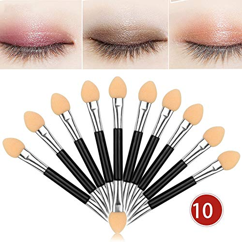 MEIYY Pinceau de maquillage New High Quality 10Pcs Makeup Eye Shadow Brush Double-End Eyeshadow Eyeliner Brushes Sponge Applicator Tool Fashion Beauty