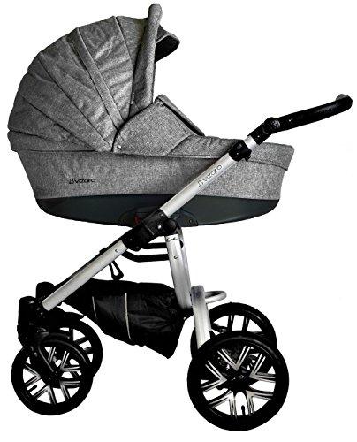 Vizaro PEARL 2020 Dúo 2 en 1 - Carrito Bebé GAMA LUJO REAL - MARCA ESPAÑOLA - Muy Elegante - Hecho en UE - TEXTILES MUY ALTA CALIDAD - Garantía 3 Años - Textil GRIS Chasis PLATEADO