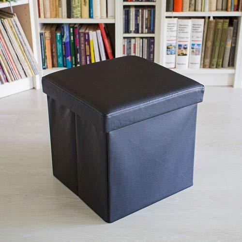 Relaxdays Opvouwbare kruk, zitkubus met opbergruimte en deksel, voetensteun, zitkubus van kunstleer, 38 x 38 cm, zwart