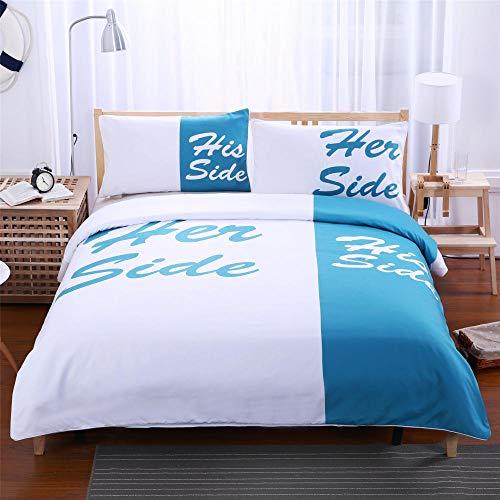 DTBDWOSY 3Pcs Duvet Cover King 220X230 Cm Blue Simple Letters Boys 3D Print Quilt Cover Girls Comfortable Quilt Cover Breathable Skin-Friendly Bedding Set With 2 Pillowcase