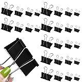 100pcs Clips Plegables, 15 mm / 19 mm / 25 mm / 32 mm,Pinzas para Papel De Papelería, Clips Metálicos para Papel,Clips Multiusos para Notas,Clips de Carpeta Oficina Casa Escuela Reutilizables