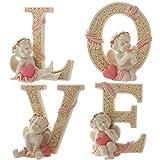 KiaoTime Set of 4 Decorative Angel Figurine Cherub Figurine Statue Pink Heart Love Figurine Home Wedding Collectible Figurine