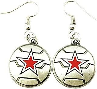 The Winter Soldier Marvel Silver Tone Cartoon Comic Logo Dangle Earrings w/Gift Box by Superheroes