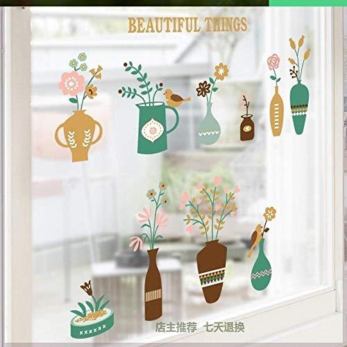 Adesivi mural Adesivi in vetro per vetrina negozio di tè camera da letto adesivi decorativi europei negozio di carta da parati carino piccolo modello @ M_Extra grande