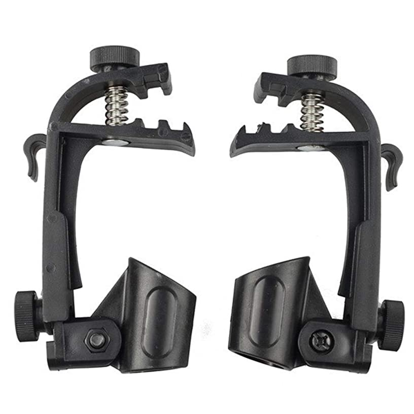 WinnerEco Microphone Clamps Stand 2pcs Adjustable Clip On Drum Rim Shock Mount Microphone Mic Clamps Stand