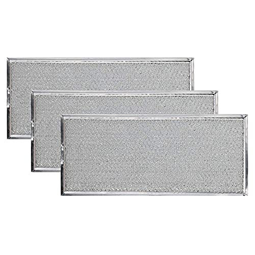 """KONDUONE W10208631A Microwave Grease Filter for Whirlpool Microwave Oven Replace Filters 13"""" x 6"""" -Replaces W10208631RP AP5617368 PS3650910 Grease Filter Aluminum Mesh Microwave Range Hood Filter, 3-Pack"""