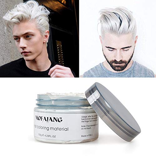MOFAJANG White Hair Wax Pomades 4.23 oz - Natural Hair Coloring Wax Material Disposable Hair Styling Clays Ash for Cosplay, Party (White)