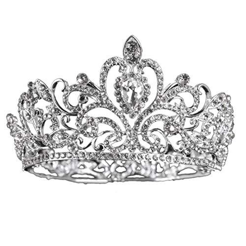 Rendeyuan Tocado de Boda Nupcial Plata Brillante Círculo Completo Corona Grande Corona de Diamantes de imitación Nupcial Accesorios de Boda - Plata