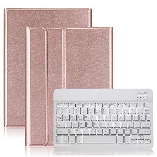 Funda con Teclado Bluetooth para Galaxy Tab A 8.0 2019 S Pen P200 / P205 / SM-P200 / SM-P205 Funda para Tableta con Teclado inalámbrico-Oro Rosa