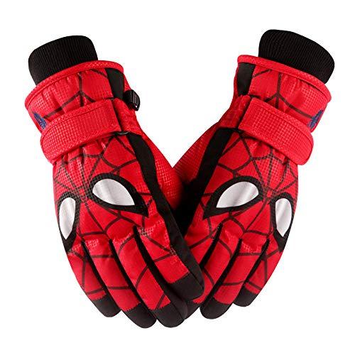 Kinderhandschuhe, winterwarme und wasserdichte Cartoon Spiderman Handschuhe zum Spielen mit Schnee, Jungen zum Skifahren und Reiten mit großen Kindern Vollfingerhandschuhe Red Spiderman_L (9 12 Jahre)