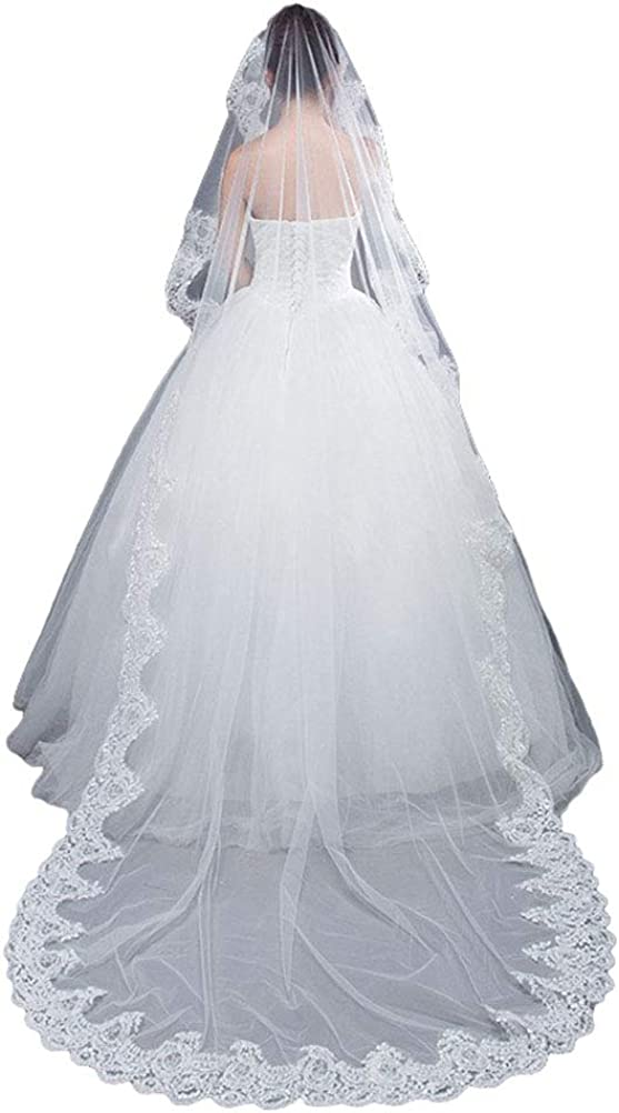 Women's Full Lace Wedding Veils Cathedral Length 3M 4M 5M Metal Comb
