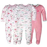 0-3 Months Baby Pajamas, 3-Pack Long Sleeve Cotton Flamingo Pattern Breathable Romper Bodysuit for Sleep and Play Wear