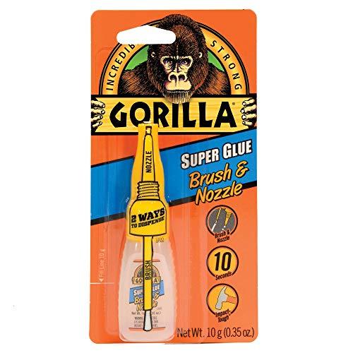 Gorilla Super Glue with Brush & Nozzle Applicator, 10 Gram, Clear, (Pack of 1)