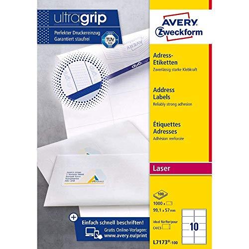 AVERY Zweckform L7173-100 Adressetiketten/Adressaufkleber (1.000 Etiketten mit ultragrip, 99,1x57mm auf A4, bedruckbar, selbstklebend, für DIN C4/C5 Briefkuverts, Papier matt) 100 Blatt, weiß