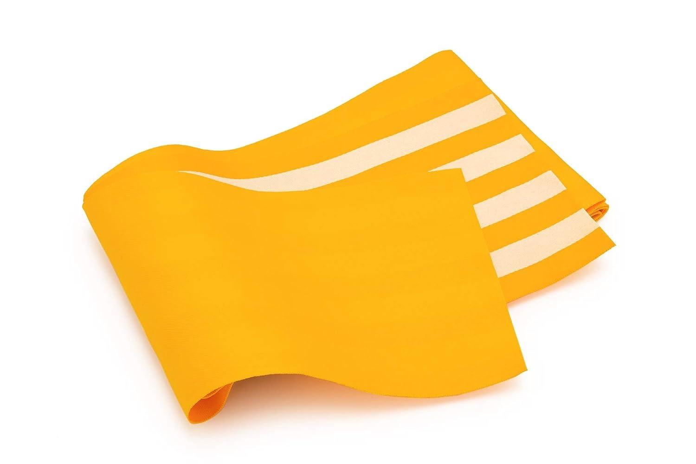 (ソウビエン) 半幅帯 黄色系 縞 両面 薄め 単衣 カジュアル 女性用 仕立て上がり