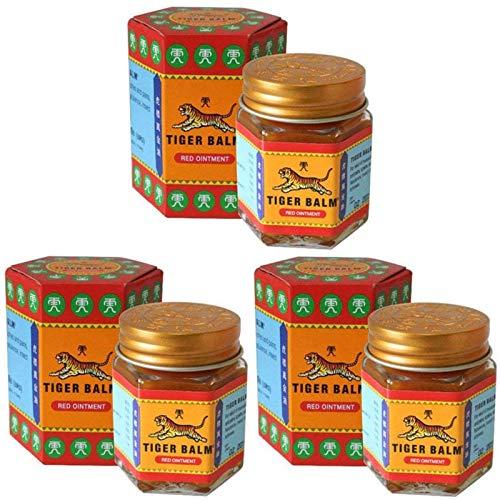 Pasta de bálsamo rojo y blanco de tigre Ungüento de masaje tailandés para aliviar el dolor muscular, repelente de mosquitos y medicamento antipruriginoso, aceite de menta, refrescante (3 piezas)