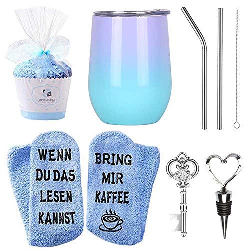 MJARTORIA Edelstahl Weinbecher Socken Schlüssel Flaschenöffner Herz Flaschenverschluss Geschenkset Doppelt Isoliert Weingläser mit Deckel Strohhalm (Blau)