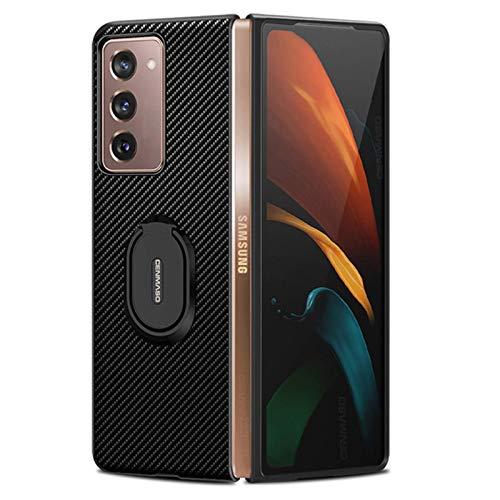 hodudu Compatible con Galaxy Z Fold 2 5G de fibra de carbono funda de pie con soporte de anillo anticaída funda protectora compatible con Samsung Galaxy Z Fold 2 5G (negro)