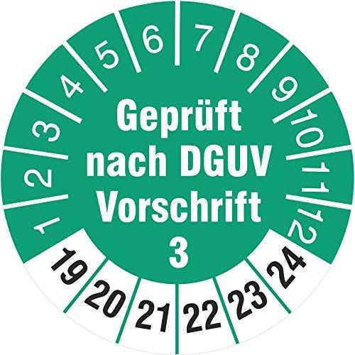 100 Stück geprüft nach DGUV Vorschrift 3 30mm Prüfetikett Prüfplaketten Rollenware türkis 2019-24