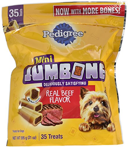 PEDIGREE JUMBONE Real Beef Flavor Mini Dog Treats - 21 Ounces (35 Treats)