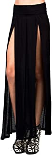 Women's USA Sexy High Waisted Double Slits Open Knit Long Maxi Skirt
