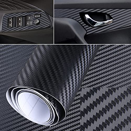 Caizhong Store 3D mate negro fibra de carbono vinilo envoltura etiqueta impermeable coche calcomanía de cine de cine de auto en ajuste para el tablero de paitros Partes exteriores...