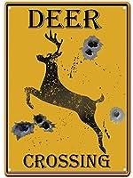 鹿の交差 メタルポスタレトロなポスタ安全標識壁パネル ティンサイン注意看板壁掛けプレート警告サイン絵図ショップ食料品ショッピングモールパーキングバークラブカフェレストラントイレ公共の場ギフト