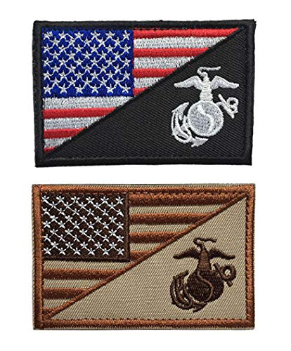 Antrix 2 Pcs American Flag/US Marine Corps USMC U.S Armed Forces Embroidered Military Morale Patches Hook & Loop Emblem Badge for Hats Backpacks Bags Jackets
