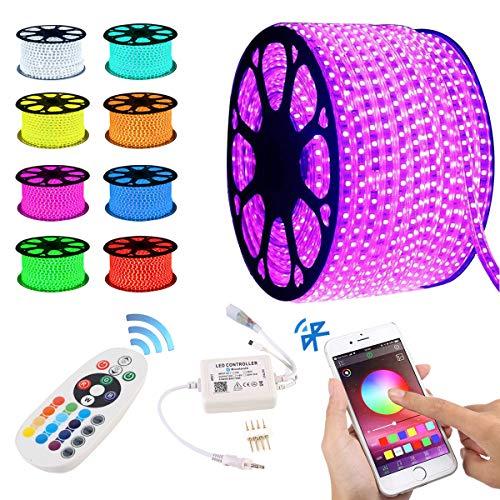 GreenSun LED Lighting Tira de luces LED con Bluetooth, RGB, 20 m, SMD 5050, con fuente de alimentación, mando a distancia, 220 V