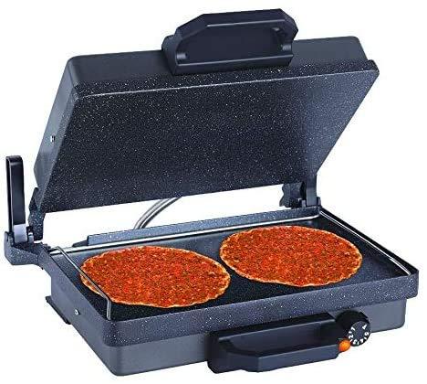 Ertex Elektrogrill multigrill Kontaktgrill Grill Toaster LAHMACUN + Kasserolle Teflon MODEL SILBER… (Black Exclusive Edition)