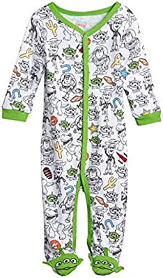 Disney Baby Boys Newborn One Piece Footed Sleep and Play 3D Character Footie, Size 6-9 Months, Toy Story Print'