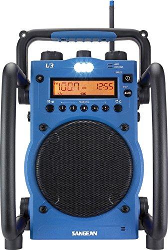 Sangean U3 tragbares Baustellenradio (UKW/MW-Tuner, AUX-In, Weckfunktion, LED-Leuchte, spritzwasser/staubgeschütztes Gehäuse) blau/schwarz