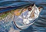 'Tarpon On' Wall Art Print Decor, Saltwater Fish Gift Idea Hand Signed Fishing Print By Jack Tarpon Choice Of Sizes Gift For Him, Retirement, Bathroom Decor