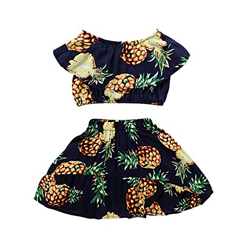 Seaby Baby Girls Pineapple Print Top and High Waist Skirt Two-Piece Set (80(6-12M), Dark Blue) Blue Infant Two Piece