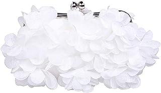Evening Bag——Women's Satin Flower Clutch, Handbag, Elegant and Charming, Evening Bag, Wallet, Party, Banquet, Cocktail Party (Color : White)