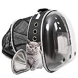 MonQootr Mochila para Mascota, Bolsa Cápsula Espacial Mochila para Gatos, Mochila portátil para Transportar para Gatos y Perro, Mochila Transpirable Transparente para Cachorros y Gatos