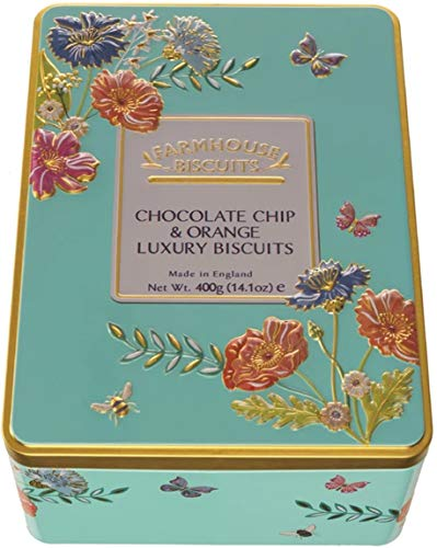 Farmhouse Chocolate Chip & Orange Biscuits in a Floral Meadow Gift Tin - 400 Grams