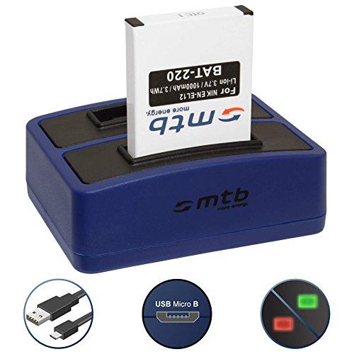 Batería + Cargador Doble (USB) para Nikon EN-EL12 / Coolpix AW120, S31, S630, S8000, S9500. / KeyMission 360, 170 - Contiene Cable Micro USB
