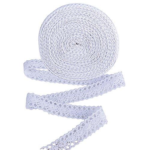 20m Encaje Cinta Decorativo Blanco Ancho 2cm para Manualidades Boda Navidad Pascua Fiesta Bricolaje (Blanco)